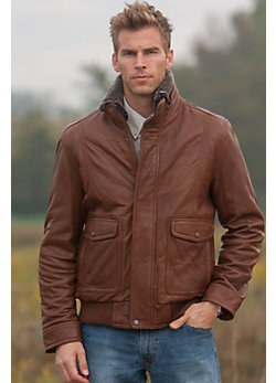 Men's Andrew Marc Radar Lambskin Leather Bomber Jacket with Sheepskin Collar