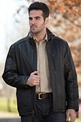 Men's Andrew Marc Noah Lambskin Leather Jacket with Sheepskin Trim