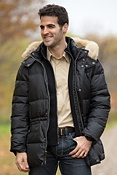 Men's Andrew Marc Alpine Down Coat with Coyote Fur Trim