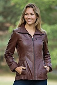 Women's Andrew Marc Trace Lambskin Leather Jacket