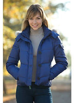 Women's Andrew Marc Mystic Down Vest Jacket with Coyote Fur Trim