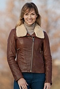Women's Andrew Marc Sarah Lambskin Leather Bomber Jacket with Sheepskin Trim