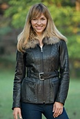 Women's Andrew Marc Sage Lambskin Leather Jacket with Raccoon Fur Trim