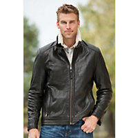 Men's Nash Rugged Lambskin Leather Jacket With Shearling Collar, Black / Cream, Size Medium (38-40) Western & Country