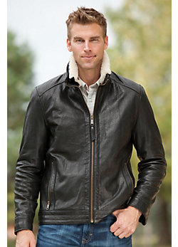 Nash Rugged Lambskin Leather Jacket with Shearling Collar