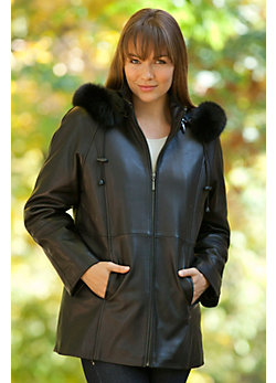 Women's Lynne Hooded Lambskin Leather Coat with Fox Fur Trim