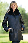 Women's Cassie Lambskin Leather Coat with Fox Fur Trim
