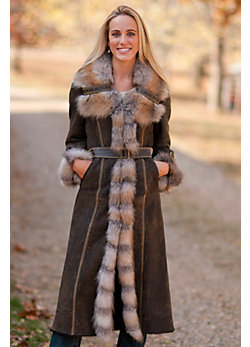 Women's Cambria Shearling Sheepskin Coat with Fox Fur Trim
