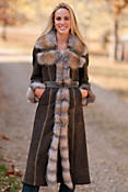 Cambria Shearling Sheepskin Coat with Fox Fur Trim