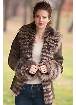 Women's Allura Shearling Sheepskin Jacket with Raccoon Fur Trim