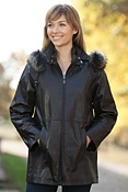 Women's Penelope Lambskin Leather Jacket with Raccoon Fur Trim