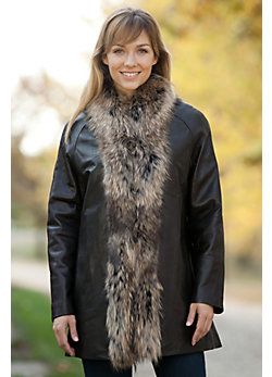 Women's Blaine Lambskin Leather Coat with Raccoon Fur Trim