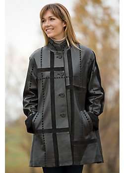 Women's Diana Lambskin Leather and Suede Coat