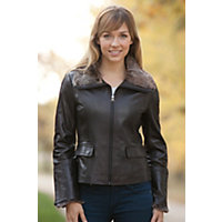 Women's Marilee Lambskin Leather Jacket with Rabbit Fur Trim, BLACK, Size LARGE (8)