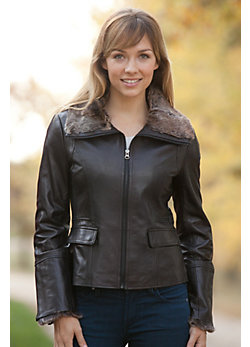 Women's Marilee Lambskin Leather Jacket with Rabbit Fur Trim