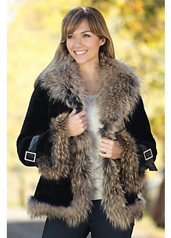 Women's Athena Mouton Sheepskin Coat with Raccoon Fur Trim