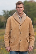 Men's Nevada Smith Leather Coat with Sheepskin Trim