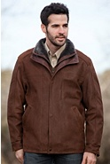 Men's Stuart Leather Jacket with Sheepskin Trim