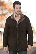 Men's Greenland Shearling Sheepskin Coat with Leather Trim