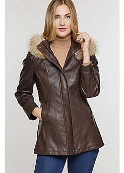 Women's Dana Hooded Lambskin Leather Coat with Coyote Fur Trim