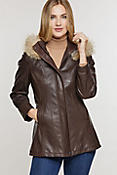 Women's Dana Hooded Lambskin Leather Coat with Coyote FurTrim