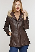 Dana Hooded Lambskin Leather Coat with Coyote Fur Trim