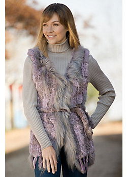 Women's Savannah Knitted Rabbit Fur Vest with Fox Fur Trim