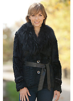 Women's Jacqueline Rabbit Fur Jacket with Raccoon Fur Trim
