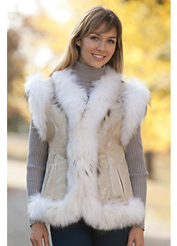 Women's Lara Shearling Sheepskin Vest with Raccoon Fur Trim
