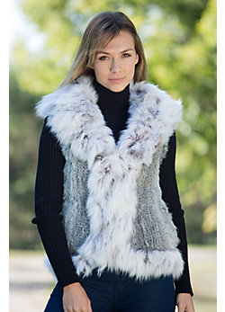 Women's Monique Knitted Rabbit Fur Vest with Fox Fur Trim