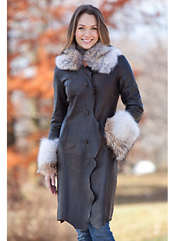 Women's Marilee Lambskin Leather Coat with Coyote Fur