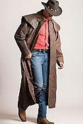 Men's Montgomery Lambskin Leather Duster with Cape