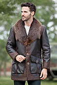 Men's Jasper Shearling Sheepskin Coat with Beaver Fur Collar