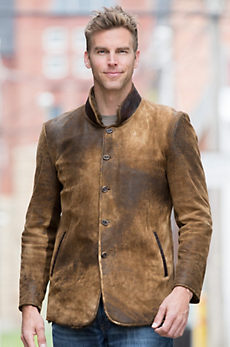 Silas Distressed Lambskin Leather Coat with Rabbit Fur Lining