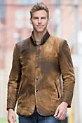 Men's Silas Distressed Lambskin Leather Coat with Rabbit Fur Lining