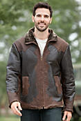 Men's Leonard Shearling Sheepskin Jacket with Leather Overlays