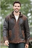 Men's Leonard Shearling Sheepskin Jacket with Leather Overlays