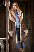 Women's Georgia Distressed Lambskin Leather Coat with Coyote Fur Trim
