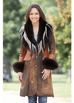 Annabelle Distressed Lambskin Leather Coat with Fox Fur Trim