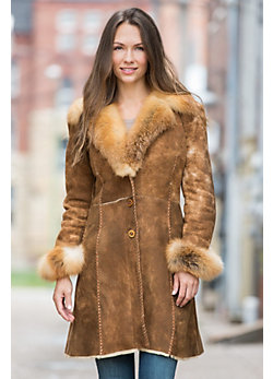 Etta Distressed Shearling Sheepskin Coat with Fox Fur Collar