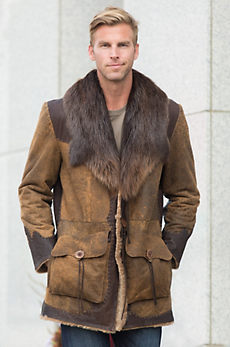 Longfellow Distressed Shearling Sheepskin Coat with Beaver Fur Collar