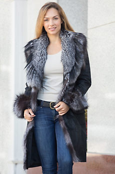Jovanna Italian Lambskin Leather Coat with Silver Fox Fur Trim