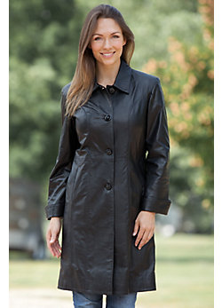 Odelia Lambskin Leather Trench Coat