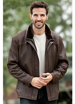 Men's Davey Lambskin Leather Coat with Shearling Collar