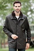Beckett Lambskin Leather Coat with Shearling Collar