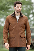 Men's Maverick Lambskin Leather Coat with Shearling Collar