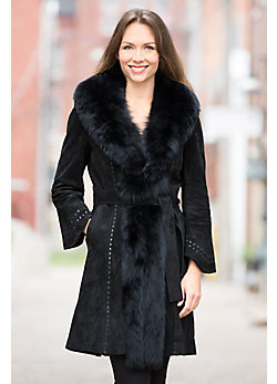 Women's Felicity Suede Coat with Fox Fur Trim