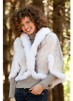 Women's Maribelle Knitted Mink Fur Cape with Fox Fur Trim