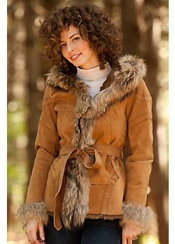 Women's Ginger Double-Faced Goat Fur Jacket with Raccoon Fur Trim