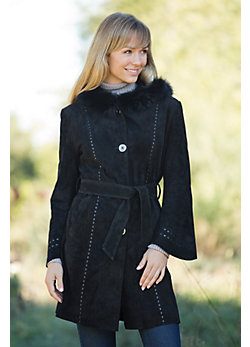Women's Kate Suede Coat with Fox Fur Trim